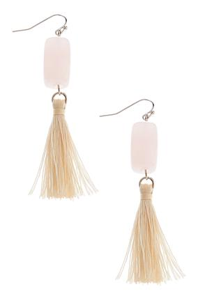 Rectangle Beaded Tassel Dangle Earrings | Tuggl