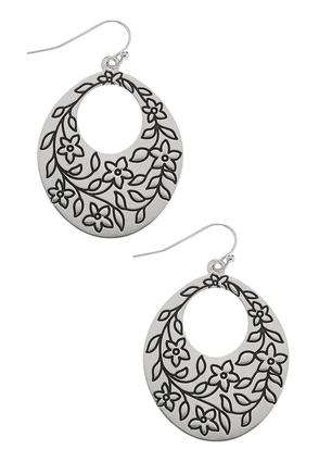Oval Etched Floral Earrings | Tuggl