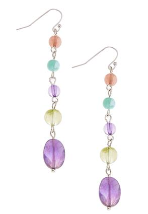 Multi Color Beaded Linear Earrings | Tuggl