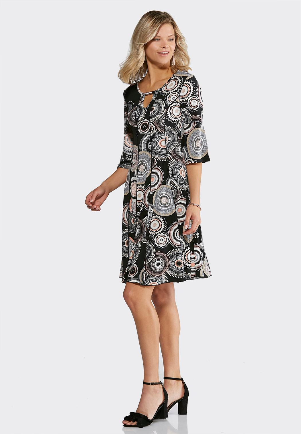 Plus Size Seamed Mod Pink Dress A Line Swing Cato Fashions