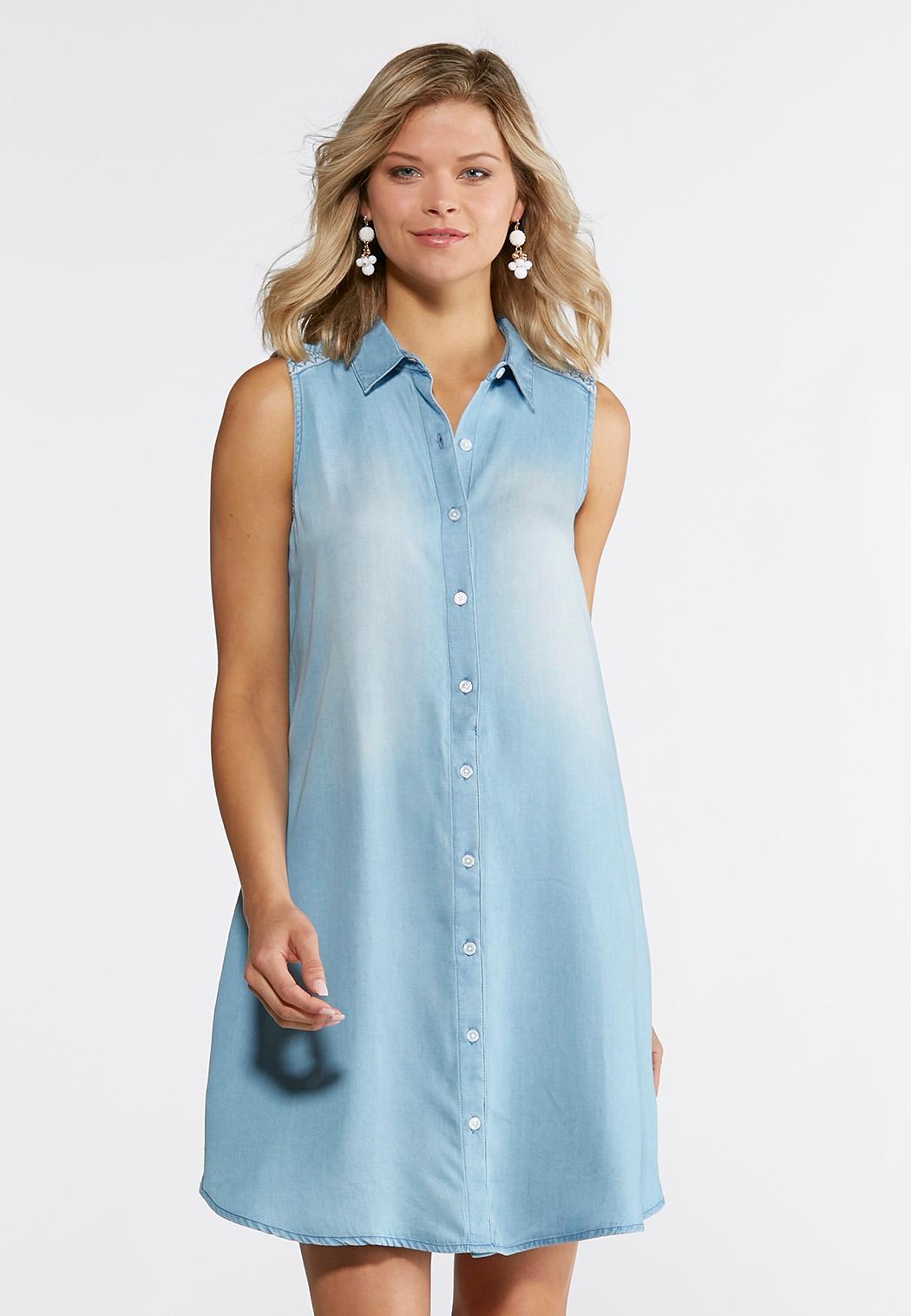 Plus Size Embroidered Back Chambray Shirt Dress Plus Sizes Cato Fashions