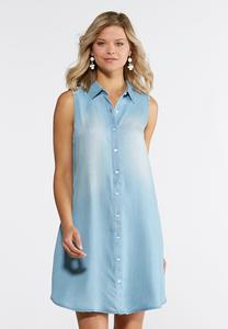 Plus Size Embroidered Back Chambray Shirt Dress