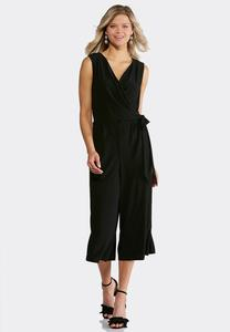 Cropped Faux Wrap Jumpsuit