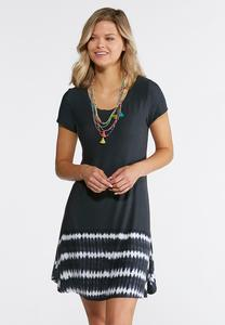 Plus Size Tie Dye Border Swing Dress