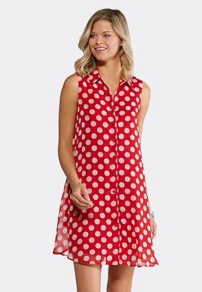 Polka Dot Shirt Dress | Tuggl