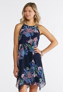 Plus Size Navy Garden Print Swing Dress