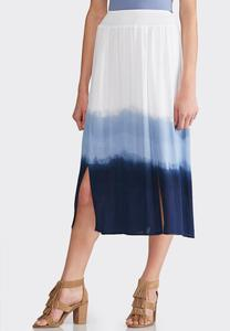 Plus Size Dip Dye Gauze Skirt