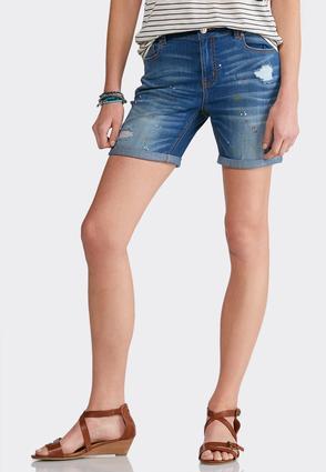 Distressed Paint Splatter Denim Shorts | Tuggl