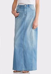 Plus Size Multi Panel Denim Maxi Skirt
