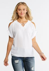 Plus Size Hammered Ring Cold Shoulder Top