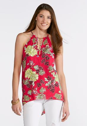 Plus Size Tassel Neck Floral Woven Top