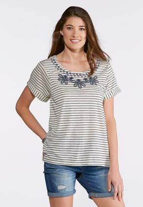 Plus Size Stripe Embroidered Top