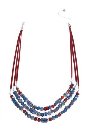 Beaded Faux Suede Cord Layered Necklace | Tuggl