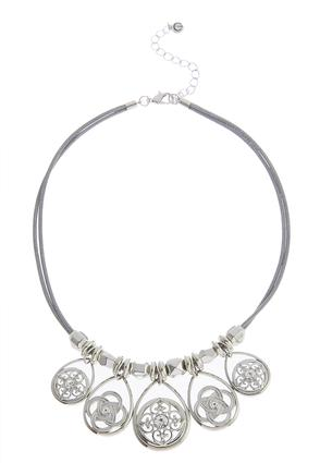 Multiple Medallion Charm Corded Necklace | Tuggl