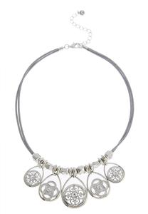 Multiple Medallion Charm Corded Necklace