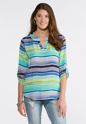 Plus Size Brushed Multicolor Striped Top | Tuggl