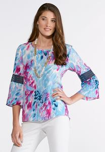 Plus Size Watercolor Petal Poet Top
