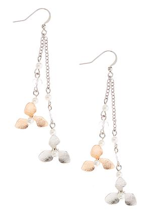 Linear Pearl Flower Earrings | Tuggl