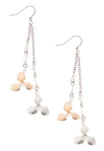 Linear Pearl Flower Earrings