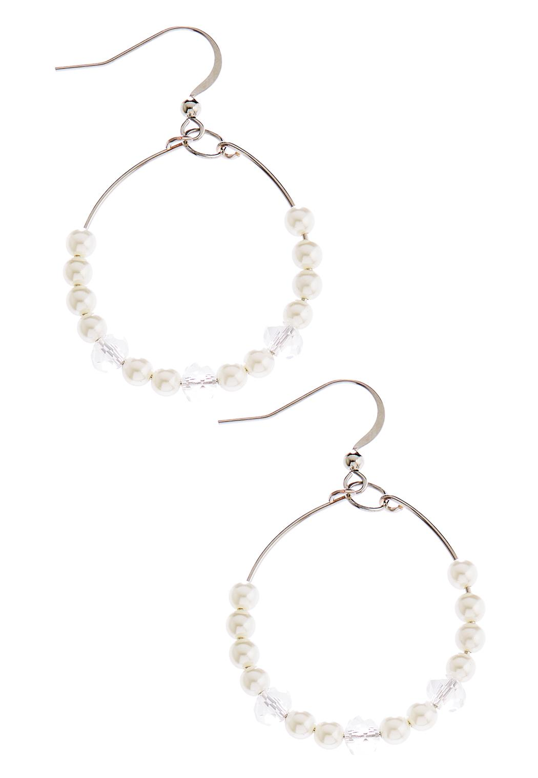 Wire Pearl Bead Hoops Hoops Cato Fashions