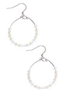 Wire Pearl Bead Hoops