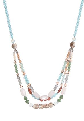 Multi Color Layered Beaded Necklace | Tuggl