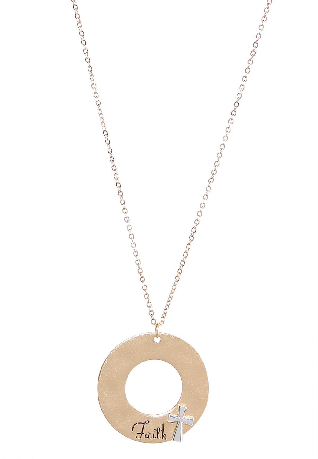 Faith open circle pendant necklace necklaces cato fashions faith open circle pendant necklace aloadofball Choice Image