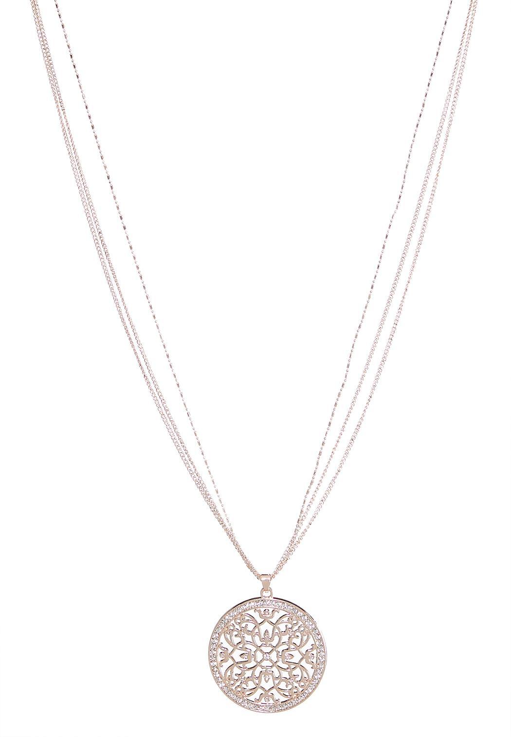 Rhinestone circle pendant necklace necklaces cato fashions rhinestone circle pendant necklace aloadofball Choice Image