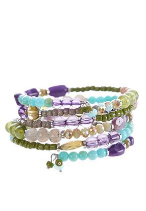 Multi Color Beaded Coil Bracelet | Tuggl
