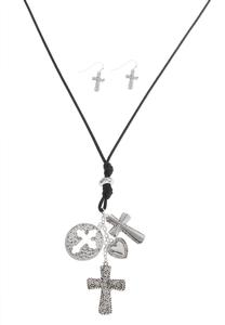 Cross Charm Cord Necklace Set