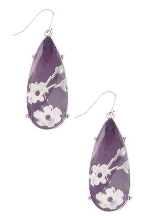 Floral Infused Tear Shaped Earrings | Tuggl