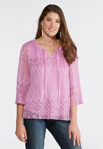 Plus Size Pleated Lace Poet Top