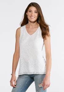 Plus Size White Jacquard Top