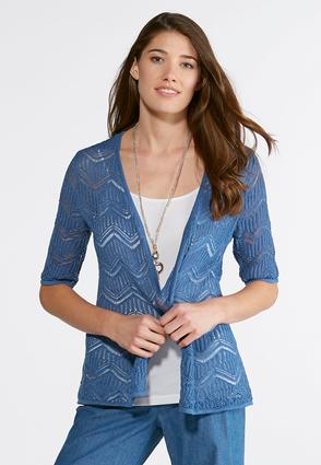 Plus Size Chevron Pointelle Cardigan at Cato in Brooklyn, NY | Tuggl