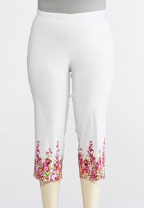 Plus Size Cropped Floral Border Pants