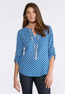 Dotted Blue Pullover Top