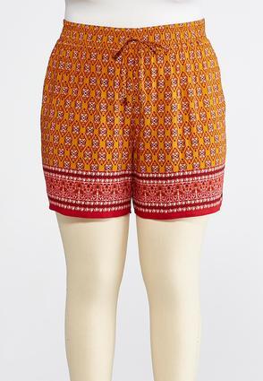 Plus Size Border Print Tie Waist Shorts | Tuggl
