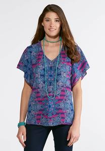 Plus Size Etched Medallion Pullover Top