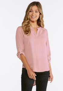 Plus Size High-Low Popover Top