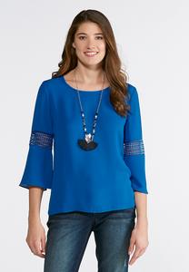 Plus Size Solid Circle Trim Top