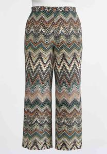 Plus Size Chevron Retro Palazzo Pants