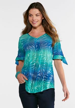 Plus Size Burnout Palm Leaf Top | Tuggl