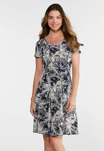 Plus Size Seamed Puff Navy Floral Dress