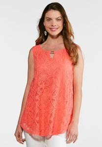 Keyhole Lace Overlay Top