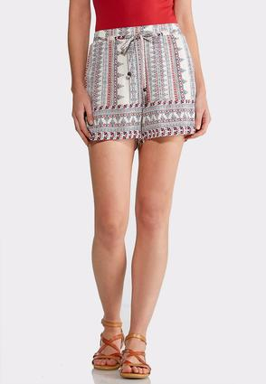 Tribal Print Tie Waist Shorts | Tuggl