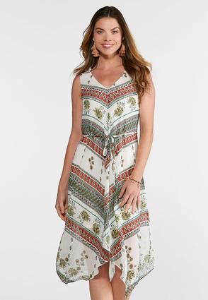Floral Mitered Print Dress | Tuggl