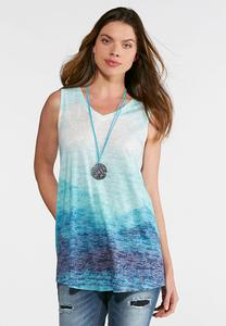 Burnout Knit Ombre Tank