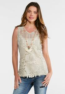 Natural Faded Wash Crochet Tank