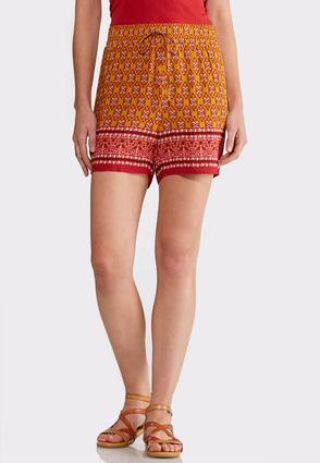 Border Print Tie Waist Shorts | Tuggl