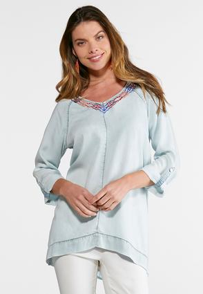 Plus Size Embroidered Neck Chambray Tunic